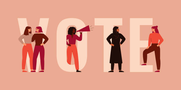 stockillustraties, clipart, cartoons en iconen met sterke vrouwen verschillende nationaliteiten en culturen staan samen in de buurt van de grote letters van het woord vote. - vote