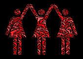 istock Strong Women Standing Gun Icon Pattern Background 604375606