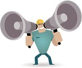 Vector illustration – Strong Worker shouting trough two megaphones.