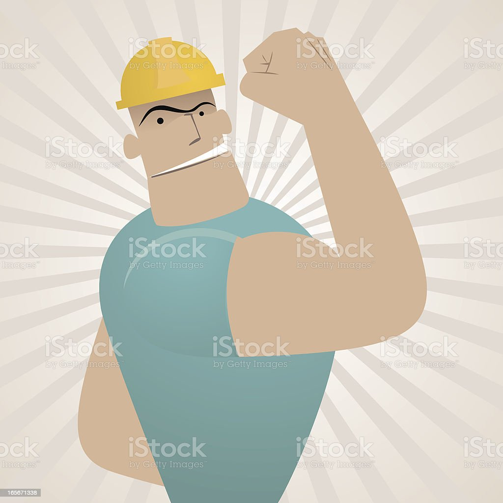 Strong Worker showing biceps(Labor Day) vector art illustration