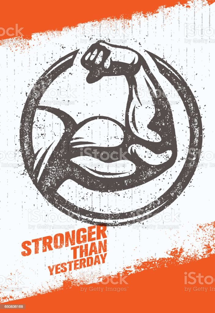 Stronger Than Yesterday Biceps Arm. Workout and Fitness Sport Motivation Quote. Creative Vector Typography Poster