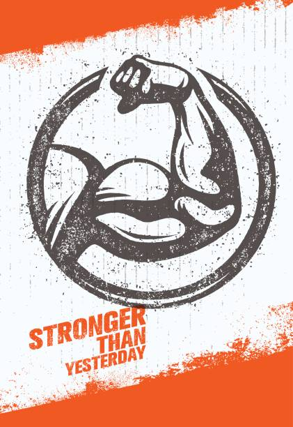 Stronger Than Yesterday Biceps Arm. Workout and Fitness Sport Motivation Quote. Creative Vector Typography Poster vector art illustration