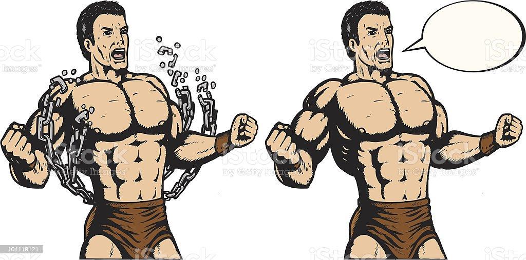 Strongman breaking chains vector art illustration