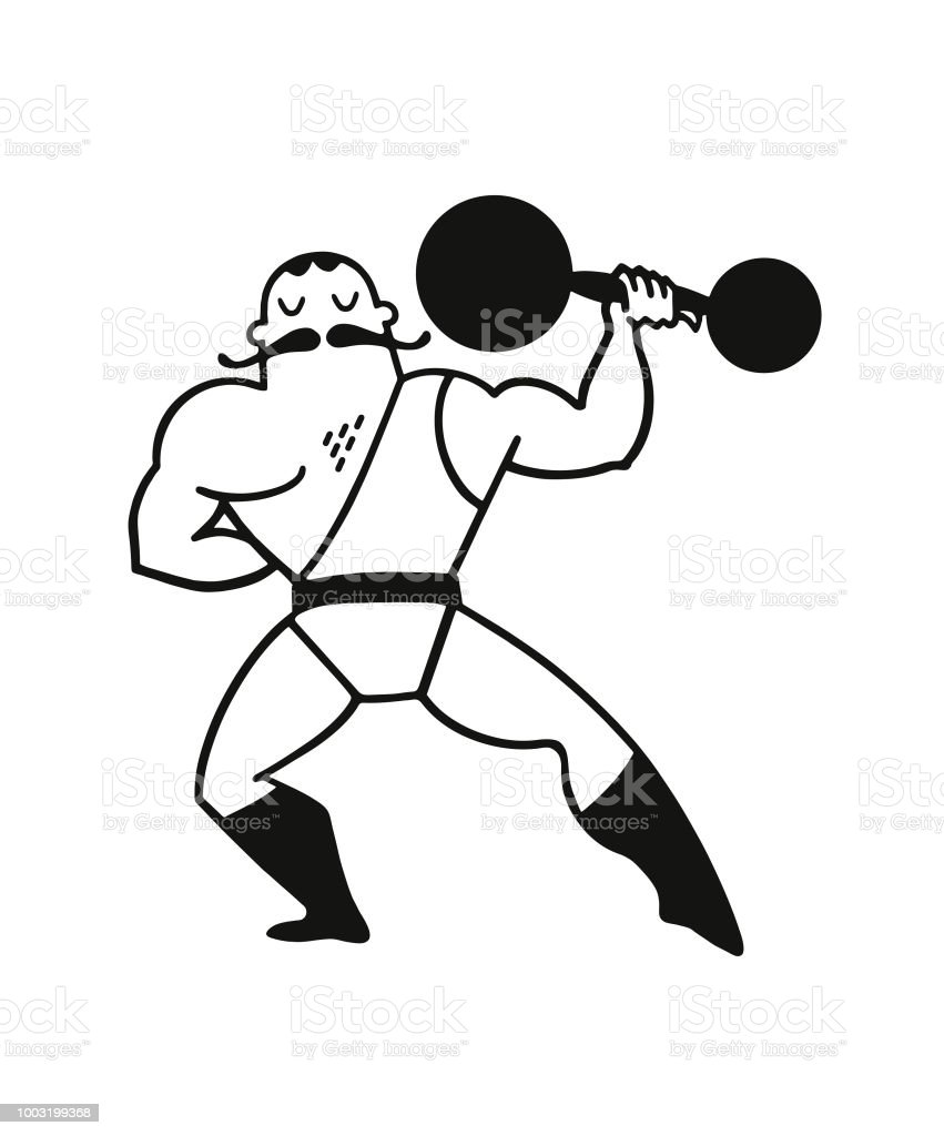 Strongman Lifting Weights vector art illustration