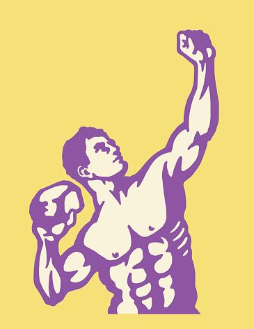 Strongman Posing With Rock