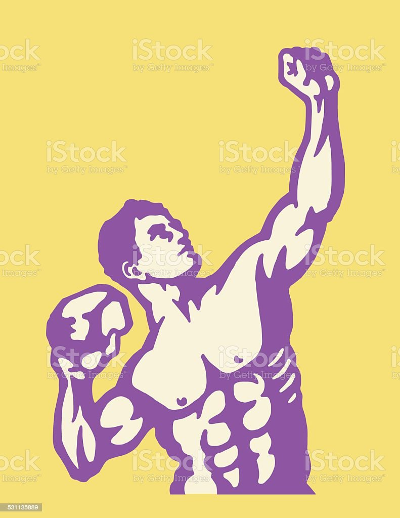 Strongman Posing With Rock vector art illustration