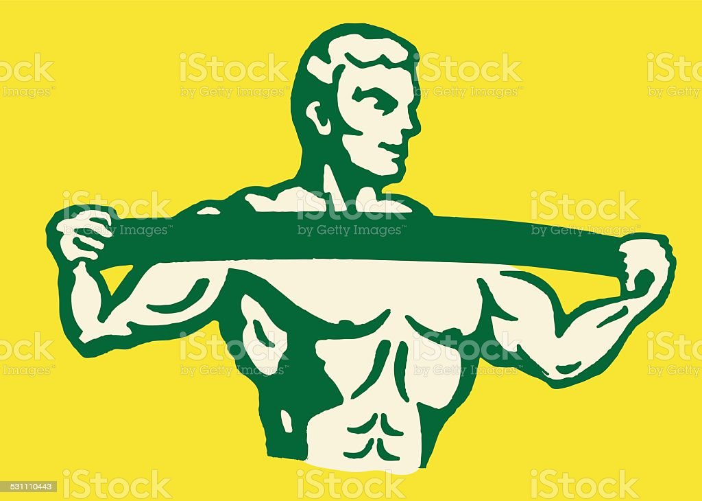 Strongman Stretching vector art illustration