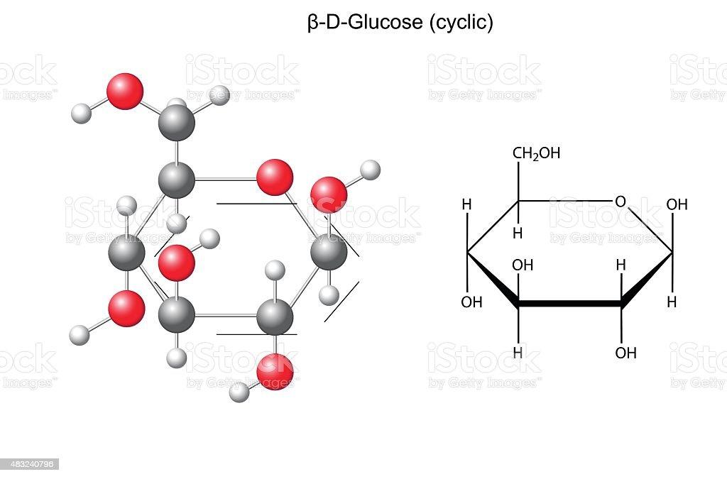 Structural chemical formula and model of glucose (beta-D-glucose) vector art illustration