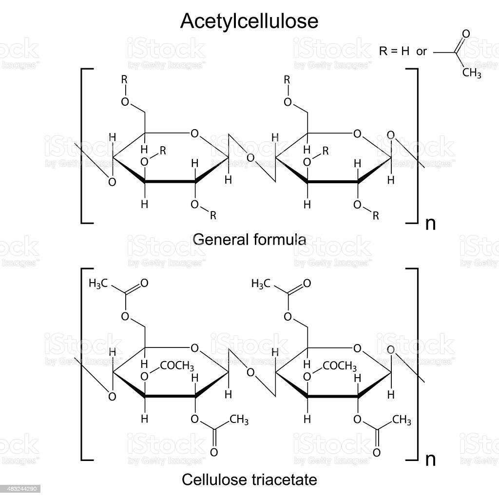 Structural chemical formula of acetyl cellulose polymer stock vector carbohydrate food type chain ether food food and drink structural chemical formula publicscrutiny