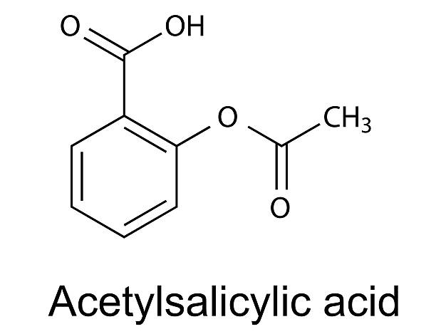 Structural chemical formula of acetylsalicylic acid (aspirin) Structural chemical formula of acetylsalicylic acid (aspirin), vector, 2d illustration, isolated on white background acetylsalicylic stock illustrations