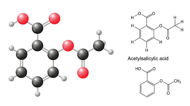 Structural chemical formulas and model of acetylsalicylic acid molecule Structural chemical formulas and model of acetylsalicylic acid molecule, 2d & 3d Illustration, isolated on white background, balls & sticks, skeletal, vector, eps 10 acetylsalicylic stock illustrations