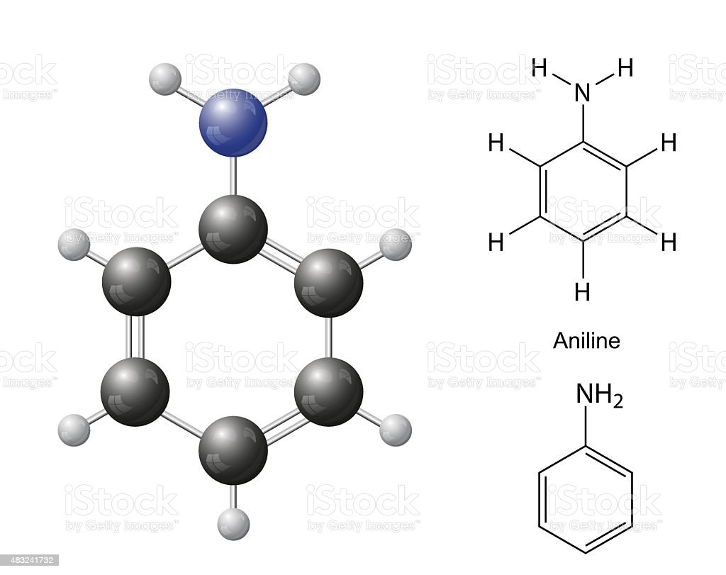 Structural chemical formulas and model of aniline molecule vector art illustration