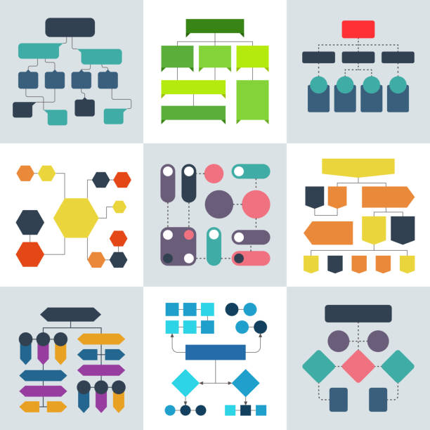 structural flow diagrams, flowcharts and flowing process structures. vector infographics elements - flowing stock illustrations