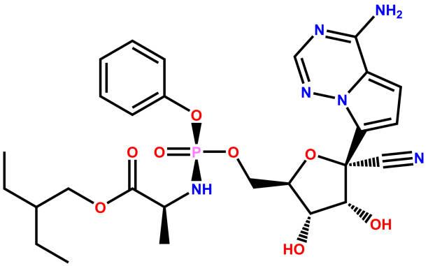 ilustraciones, imágenes clip art, dibujos animados e iconos de stock de fórmula estructural del antiviral remdesivir activo contra el coronavirus covid-19 - remdesivir