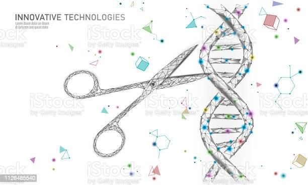 Dna 3d Structure Editing Medicine Concept Low Poly Polygonal Triangle Gene Therapy Cure Genetic Disease Gmo Engineering Crispr Cas9 Innovation Modern Technology Science Banner Vector Illustration Stock Illustration - Download Image Now