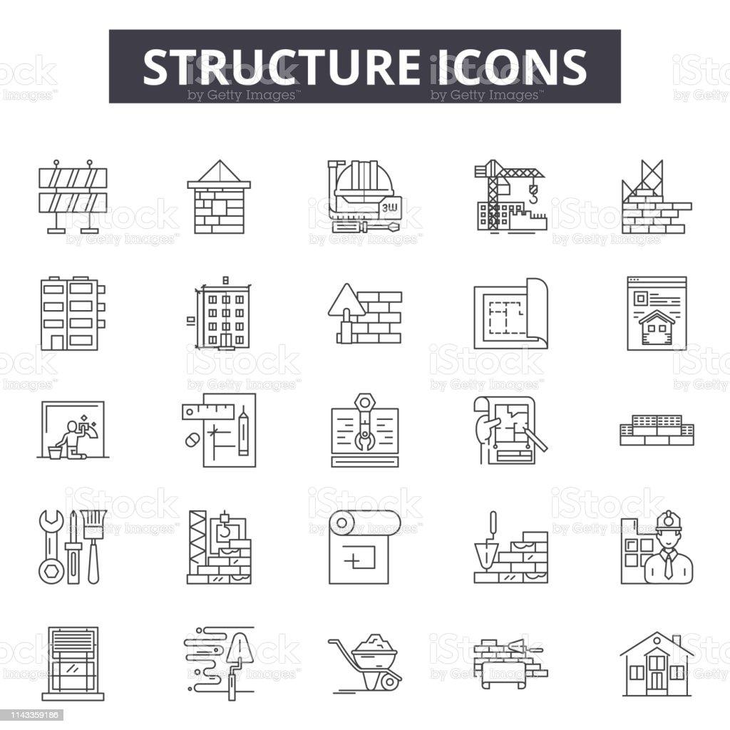 Ilustración De Estructura Iconos De Línea Signos