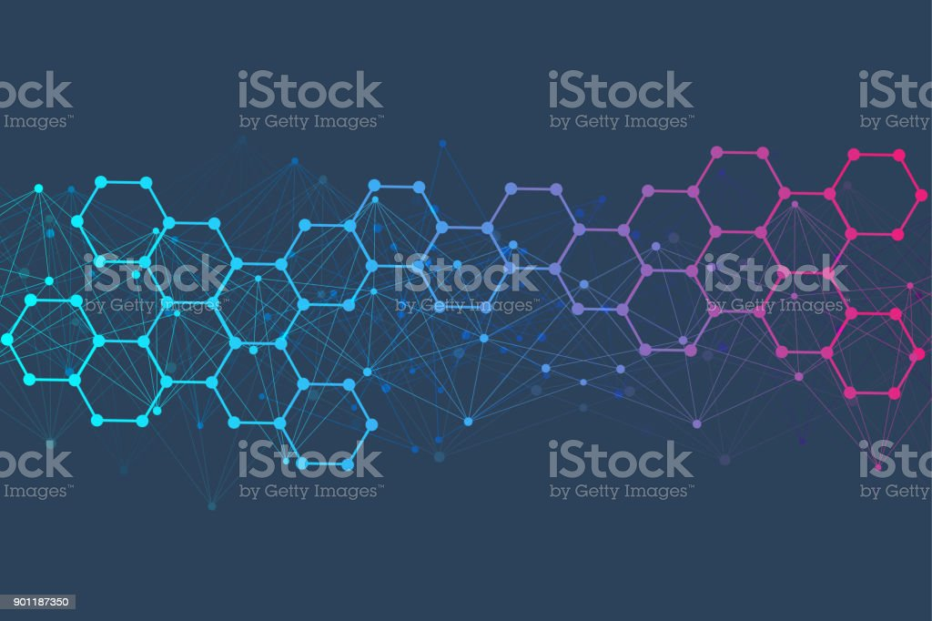 Structure molecule and communication Dna, atom, neurons. Science concept for your design. Connected lines with dots. Medical, technology, chemistry, science background. Vector illustration vector art illustration