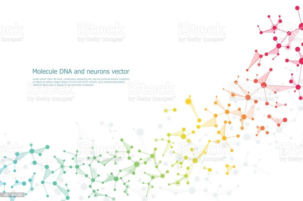 Structure molecule dna and neurons, connected lines with dots, genetic and chemical compounds, vector illustration - illustrazione arte vettoriale