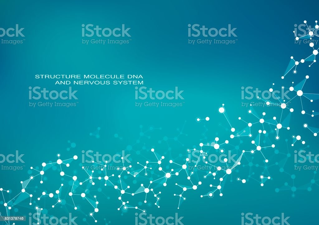 Structure molecule dna and neurons, connected lines with dots, genetic and chemical compounds, vector illustration vector art illustration