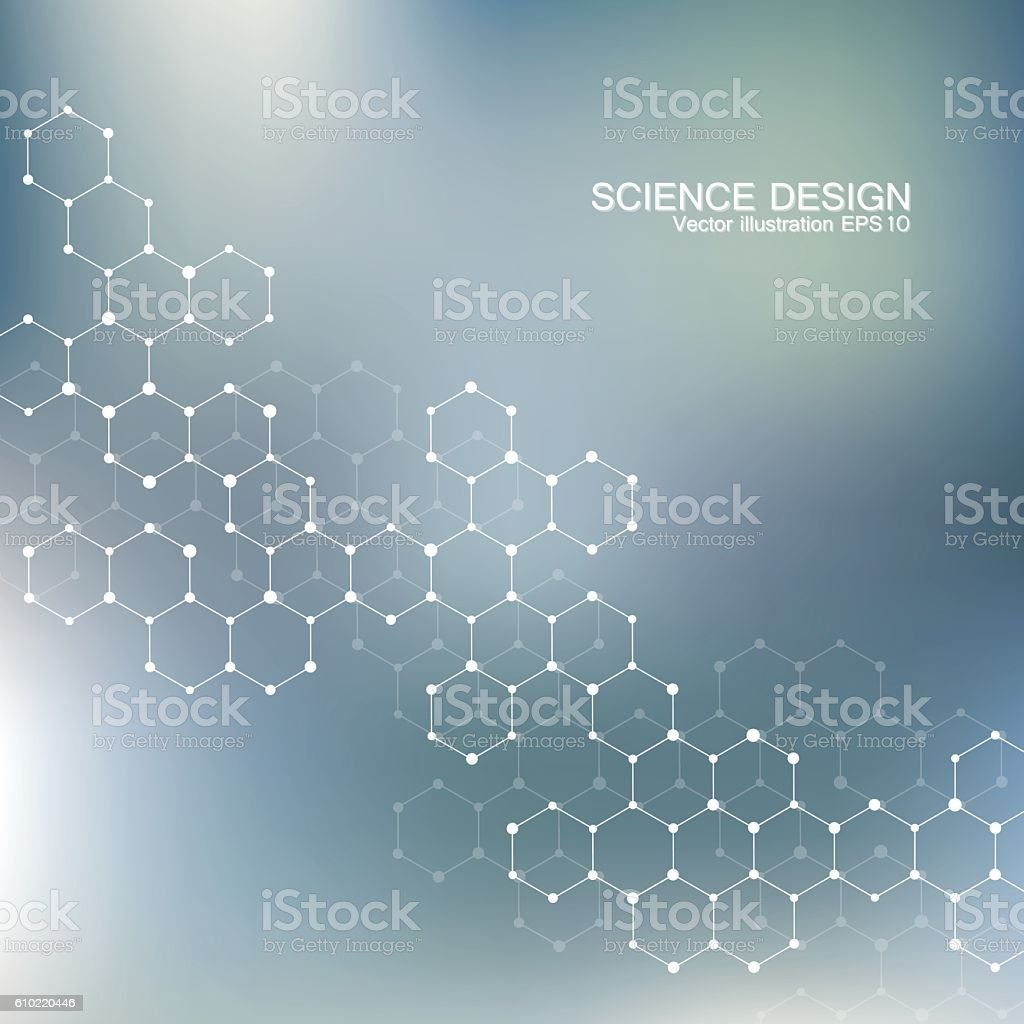 Structure molecule of DNA and neurons. Structural atom. Chemical compounds vector art illustration