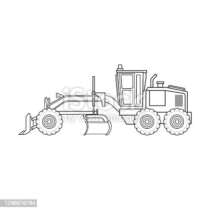 istock Structure of road grader construction vehicle equipment machine. Only black and white for coloring page, children book. 1296676784