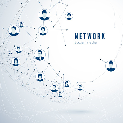 Structure of social media network. Global connection. User partnership connection. Vector illustration