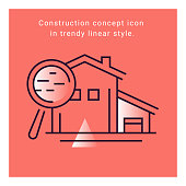 Structure paper icon. Construction plan symbol in vector line style.
