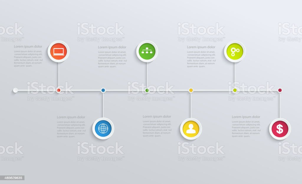 Structure timeline with business icons vector art illustration