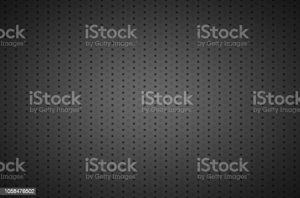 Structured dark metallic perforated background, technology vector illustration