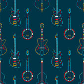 Strumming instruments hand drawn outline seamless pattern. Guitars, cellos and banjos line art texture. Colorful contour string instruments on dark blue background. Concert performance vector design