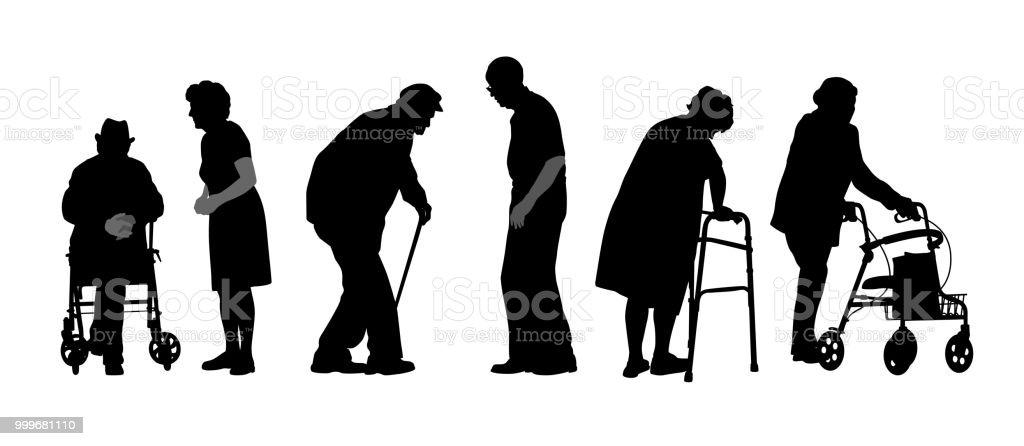 Las personas mayores - ilustración de arte vectorial