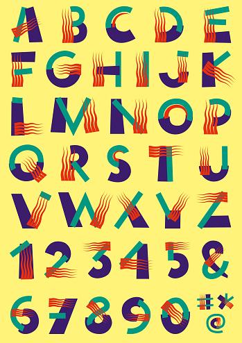 Stubborn Wavy Fringe Font Alphabet Numbers and Symbols