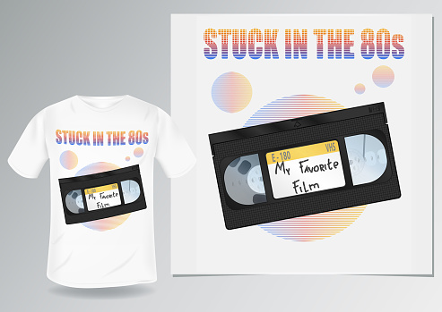 stuck in the 80s. t-shirt prints stylized retro. demonstration on a man's white t-shirt. videocassette VHS with a sticker. analog TV circles. my favourite film
