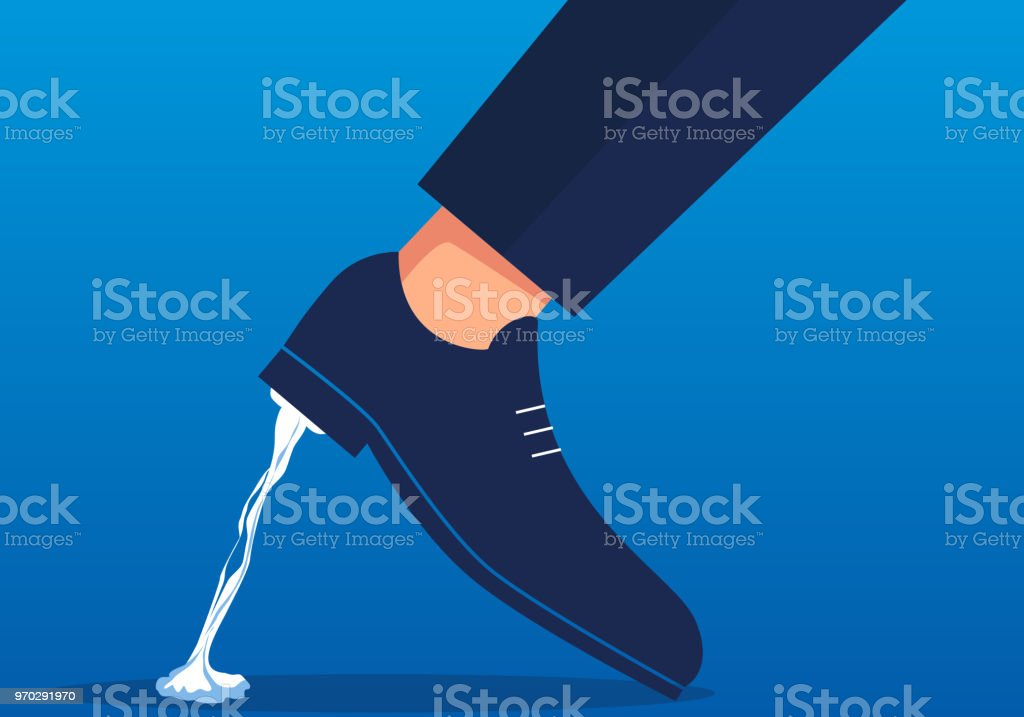 Stuck in the foot vector art illustration