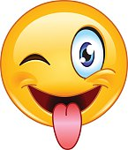 Stuck out tongue and winking eye emoticon