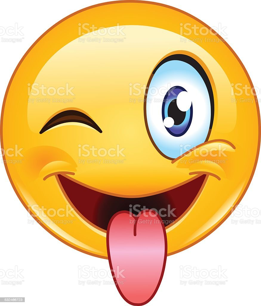 Stuck out tongue and winking eye emoticon vector art illustration