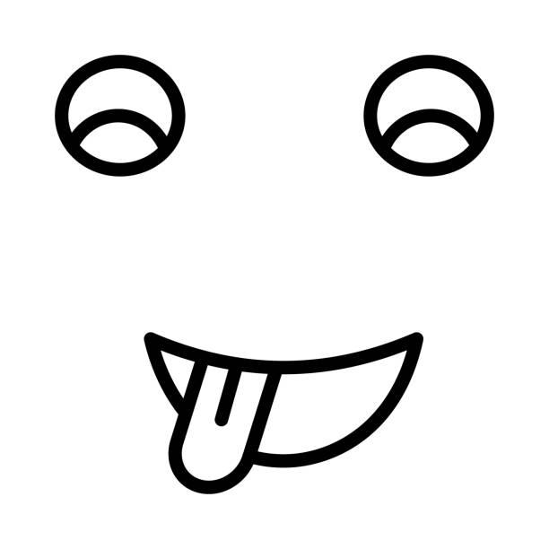 streckte die zunge gesicht - feststecken stock-grafiken, -clipart, -cartoons und -symbole