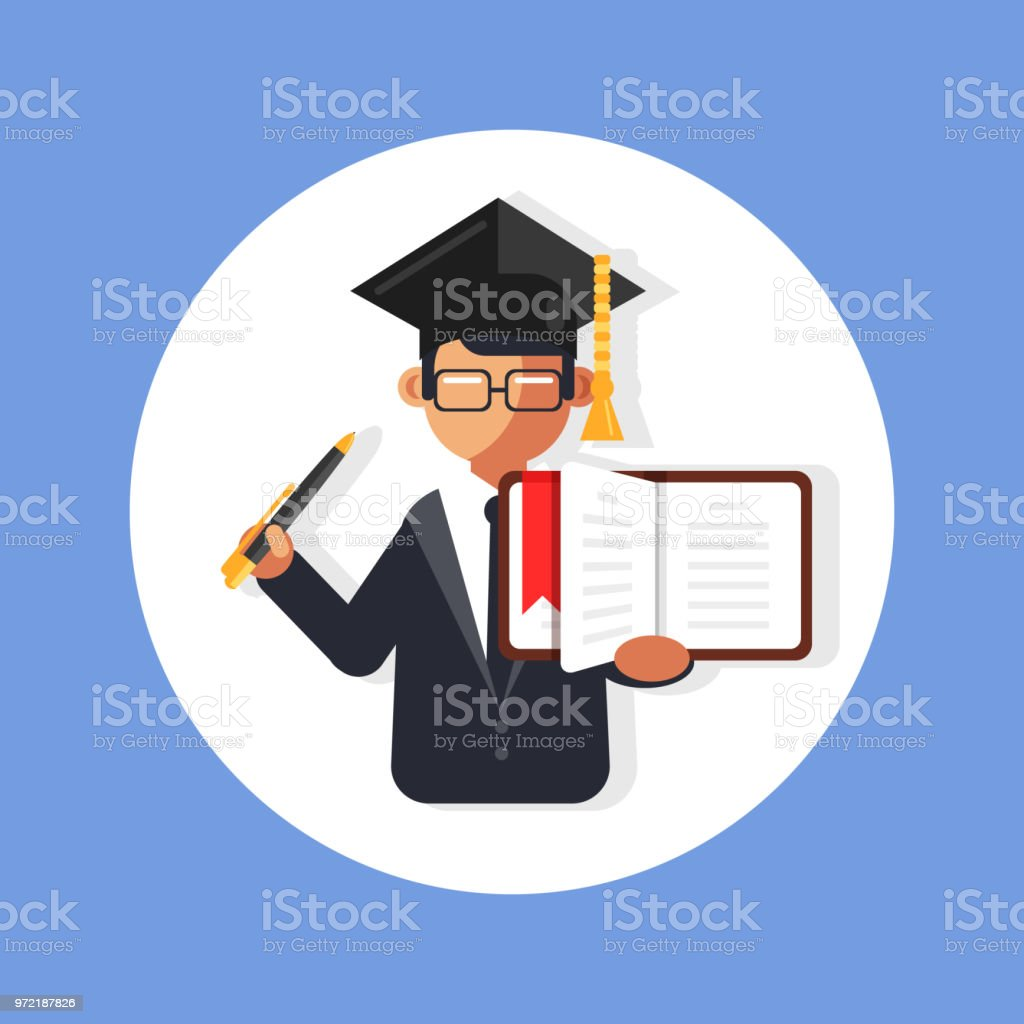 Character Design Courses University : Student academy professor man character holding open book and