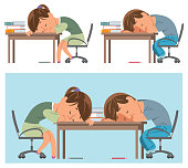 Vector student are sleeping on the desk with books