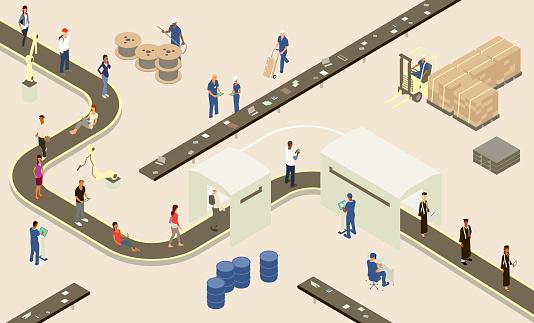 Student Assembly Line illustration