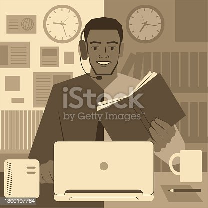istock Student at Work concept, a student working in an office setting and wearing headphones (Shirt and Tie) using a laptop, also studying a textbook in a classroom (library) or taking an online course 1300107784