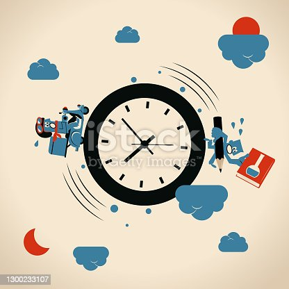 istock Student at Work concept, student as a pizza delivery person riding motorcycle and also studying a textbook, going around a big clock day after day 1300233107