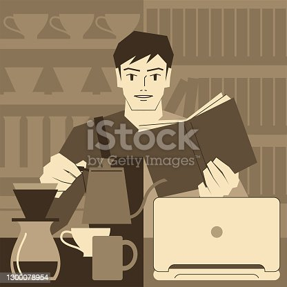 istock Student at Work concept, student in a coffee shop workplace and wearing a apron uniform and carrying a swan neck kettle, also studying a textbook in a library or taking an online course 1300078954