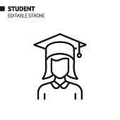 Student Avatar Line Icon, Outline Vector Symbol Illustration. Pixel Perfect, Editable Stroke.