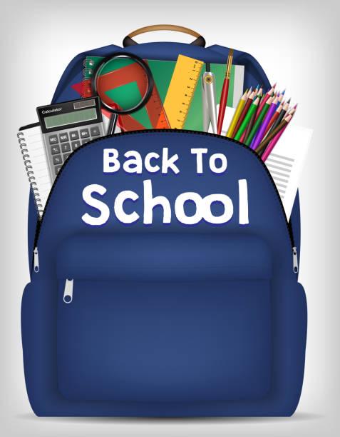 Bекторная иллюстрация student bag with study object inside vector