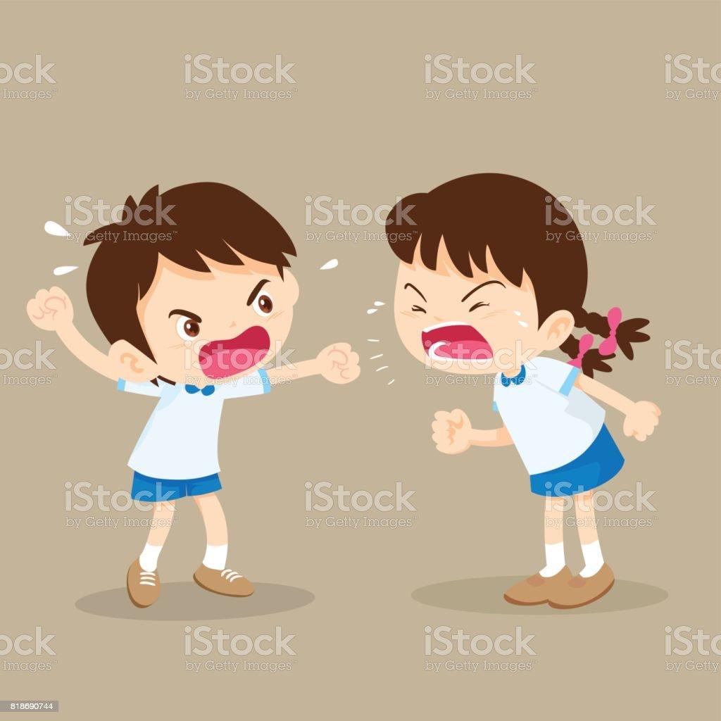 garota e garoto estudantil estão brigando. - ilustração de arte em vetor