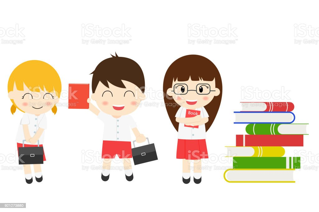 Student Boy And Girl Cute Character School Uniform With Many