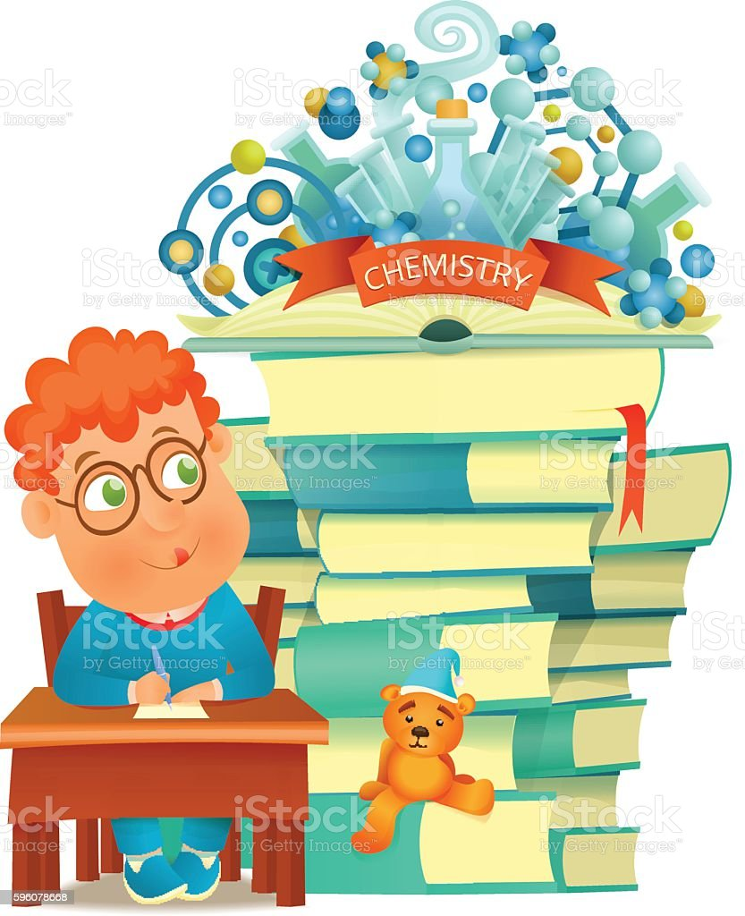 Student boy learning chemistry. Isolated over white background royalty-free student boy learning chemistry isolated over white background stock vector art & more images of boys