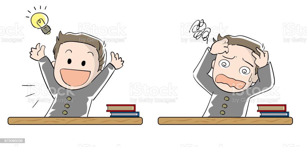 学生少年セット - 達成と挫折 ベクターアートイラスト