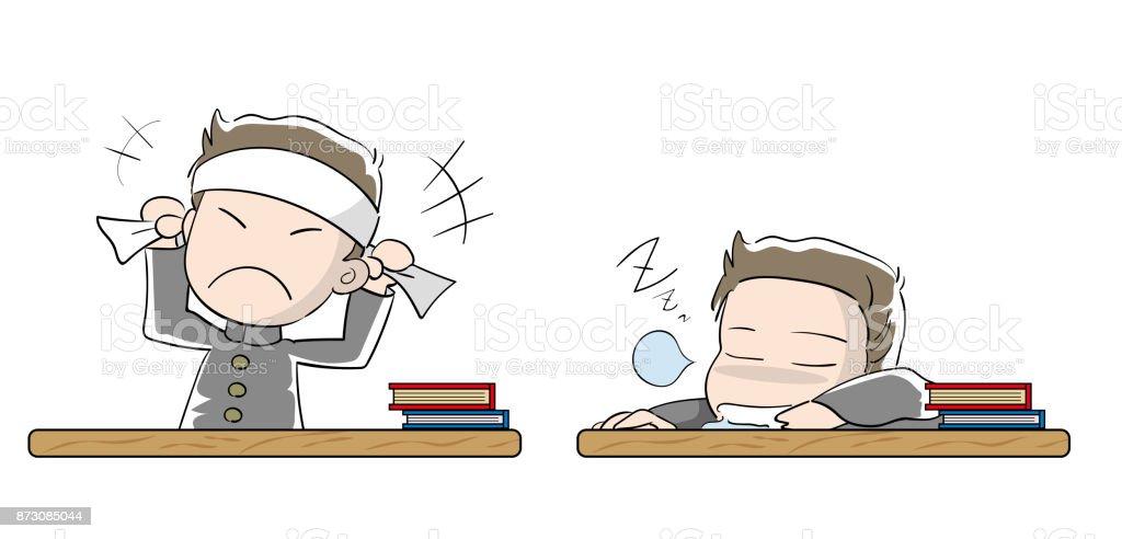 学生少年設定 ·動機と怠惰 ベクターアートイラスト